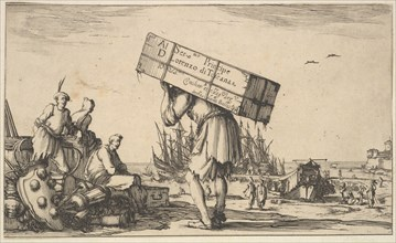 Title page: a man carrying a case on his back in center, three men looking towards him on ..., 1639. Creator: Stefano della Bella.