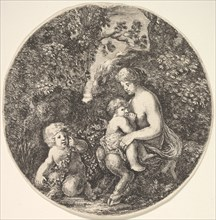 A female satyr breastfeeding an child to the right, turned towards the left, a satyr child..., 1639. Creator: Stefano della Bella.