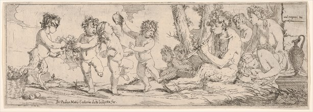 Bacchanal with satyr playing a lute and surrounded by four figures, who look toward a s..., 1640-60. Creator: Giulio Carpioni.