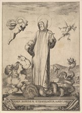 Saint Jean Gualbert trampling a monster with two human heads and a serpentine body, a flyi..., 1640. Creator: Stefano della Bella.