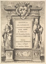 Frontispiece: a monument decorated with the Medici coat of arms at top in center, flames a..., 1640. Creator: Stefano della Bella.
