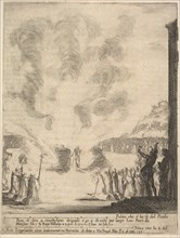 The test of fire, the monk Peter, the disciple Saint John Gualbert, passing through the fl..., 1640. Creator: Stefano della Bella.