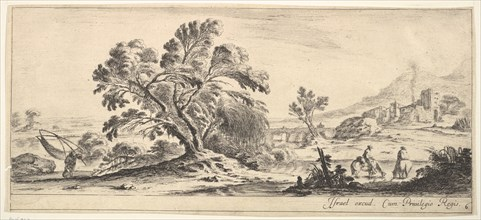 Plate 6: a fisherman carrying a net to left, two horsemen in a stream to right, a tree..., ca. 1641. Creator: Stefano della Bella.