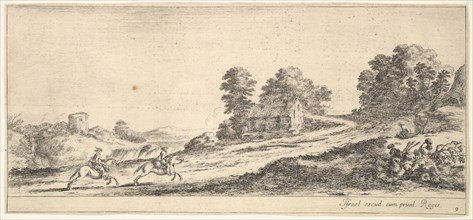 Plate 9: two horsemen at left galloping uphill towards the right, a horse and seated m..., ca. 1641. Creator: Stefano della Bella.