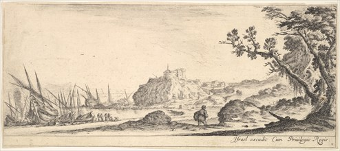 Plate 7: various boats on shore to left, a man carrying a bag, seen from behind and wa..., ca. 1641. Creator: Stefano della Bella.
