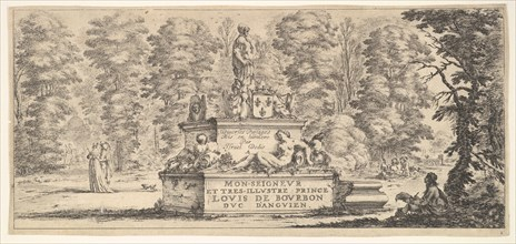 Plate 1: a monument with statues and a coat of arms in the center, a draughstman on th..., ca. 1641. Creator: Stefano della Bella.