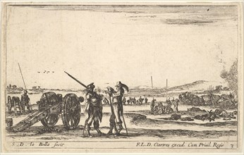 Plate 3: An officer giving orders to a solider in centre foreground, cannon at left, f..., ca. 1641. Creator: Stefano della Bella.