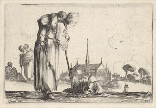 Plate 10: a peasant woman turned towards the right with a child on her back, a boy lyi..., ca. 1642. Creator: Stefano della Bella.