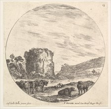 Plate 13: ruins of an ancient temple in the background, a herd of cows in the foreg..., ca. 1643-48. Creator: Stefano della Bella.