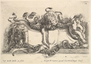 Plate 18: a cartouche containing an empty crest, two lionesses, one to left and one in cen..., 1646. Creator: Stefano della Bella.