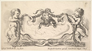 Plate 17: a cartouche with a marble center, an infant on either side holding a garland ove..., 1646. Creator: Stefano della Bella.