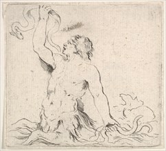 Plate 7: a triton in the water, facing left, holding up an eel in his right hand and t..., ca. 1646. Creator: Stefano della Bella.