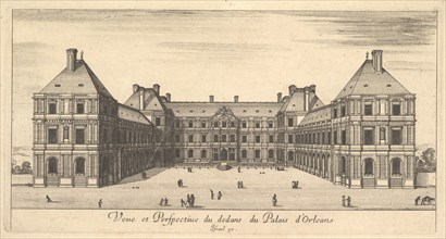 View and Perspective of the inside of the Palais d'Orleans, from 'Various views of rema..., 1649-51. Creator: Stefano della Bella.