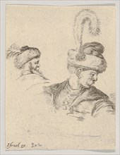 Plate 11: a Polish bust in profile, turned to the right, another Polish head seen from..., ca. 1649. Creator: Stefano della Bella.