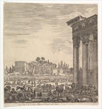 The columns of the Temple of Antoninus to right, a part of the Campo Vaccino in center and..., 1656. Creator: Stefano della Bella.