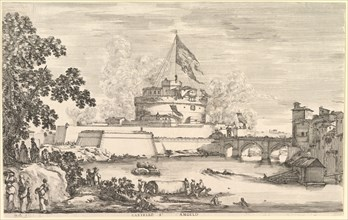 View of the Tiber river, a large tree to left, two groups of women to left in the fore..., ca. 1656. Creator: Stefano della Bella.