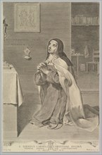 St. Theresa Kneeling in Prayer, 1661. Creator: Claude Mellan.