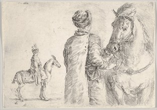 A Polish valet, seen from behind, holding the bridle of a horse to right, a Polish hor..., ca. 1662. Creator: Stefano della Bella.