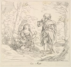 Seated woman and Bearded Man in a Landscape, 1740-1802. Creator: Giuseppe Canale.