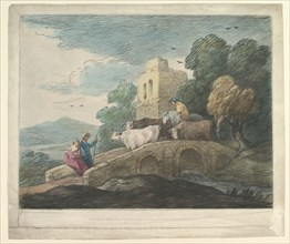 Wooded Landscape with Herdsmen Driving Cattle over a Bridge, Rustic Lovers and Ruined Castle, 1797. Creator: Thomas Gainsborough.