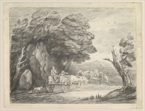 Wooded Landscape with Two Country Carts and Figures, August 1, 1797. Creator: Thomas Gainsborough.