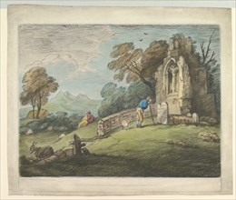 Wooded Landscape with Peasant Reading Tombstone, Rustic Lovers and Ruined Church, August 1, 1797. Creator: Thomas Gainsborough.