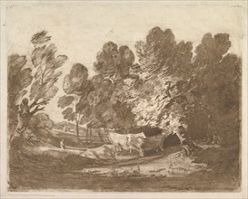 Wooded Landscape with Herdsmen and Cows, August 1, 1797. Creator: Thomas Gainsborough.