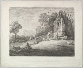 Wooded Landscape with a Peasant Reading a Tombstone, Rustic Lovers and a Ruined ..., August 1, 1797. Creator: Thomas Gainsborough.