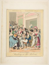 Theatrical Pleasures, Plate 5: Feasting in the Saloon, ca. 1835. Creator: Theodore Lane.