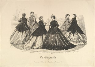 Six Women Outdoors, No. 676, from La Elegancia, 1865-66. Creator: Heloise Leloir.