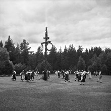 Midsummer celebrations at Mullsjo, Sweden, 1950. Creator: Unknown.