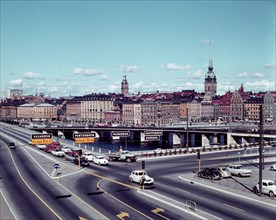 Left traffic over Vasabron, Sweden; with view towards Kornhamnstorg, Stockholm, 1960s. Creator: Unknown.