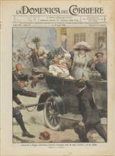 The Assassination of Archduke Franz Ferdinand of Austria and his wife in Sarajevo, 28th June 1914.  Creator: Beltrame, Achille
