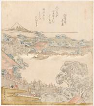 The banks of the Sumida river, Komatomeishi. Triptych from the series Umazukushi, left part, 1822. Creator: Hokusai, Katsushika