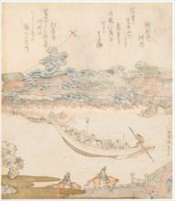 The banks of the Sumida river, Komatomeishi. Triptych from the series Umazukushi, Central part, 1822 Creator: Hokusai, Katsushika