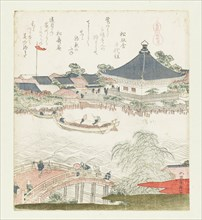 The banks of the Sumida river, Komatomeishi. Triptych from the series Umazukushi, Right part, 1822. Creator: Hokusai, Katsushika