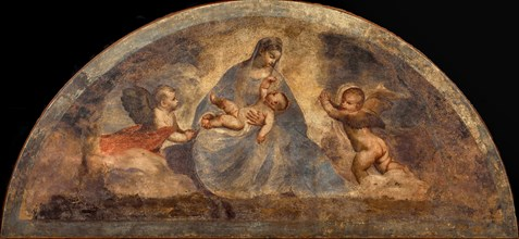 Madonna and Child with two angels, c. 1519. Creator: Titian