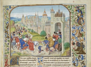 Isabella of France welcomed by her brother Charles IV to Paris, ca 1470-1475. Creator: Liédet, Loyset