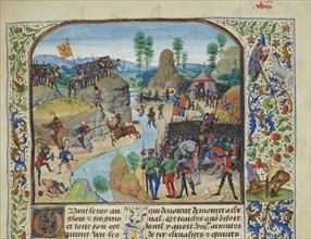 Anglo-Scottish War: the English crossing the Tyne, ca 1470-1475. Creator: Liédet, Loyset