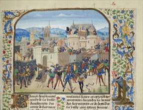 William II, Count of Hainaut Takes and destroys Aubenton, 1340, ca 1470-1475. Creator: Liédet, Loyset
