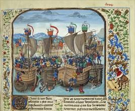 The Battle of Sluys on 24 June 1340, ca 1470-1475. Creator: Liédet, Loyset