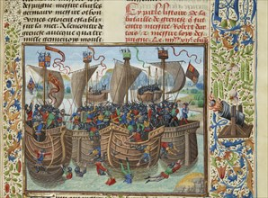 The naval Battle of Guernsey, 1342, ca 1470-1475. Creator: Liédet, Loyset