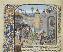 The Battle of Caen in 1346, ca 1470-1475. Creator: Liédet, Loyset