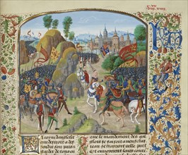 Queen Philippa of Hainault before the Battle of Neville's Cross on 17 October 1346, ca 1470-1475. Creator: Liédet, Loyset