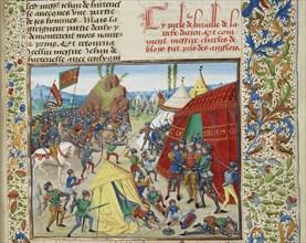 Charles of Blois captured at the Battle of La Roche-Derrien, ca 1470-1475. Creator: Liédet, Loyset