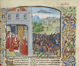 The crowning of Pope Gregory XI and the Battle of Pontvallain, 1370, ca 1470-1475. Creator: Liédet, Loyset
