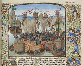 The Battle of La Rochelle, 1372, ca 1470-1475. Creator: Liédet, Loyset