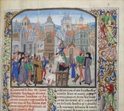 Execution of Guillaume Sanche IV de Pommiers, viscount of Fronsac in Bordeaux in 1375, ca 1470-1475. Creator: Liédet, Loyset