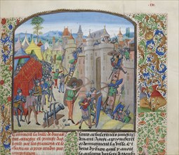 Siege of the château de Duras by the French in 1377, ca 1470-1475. Creator: Liédet, Loyset