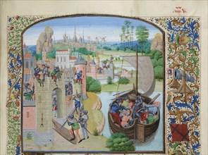 Massacre of Ghent traders at Audenarde 1380, ca 1470-1475. Creator: Liédet, Loyset